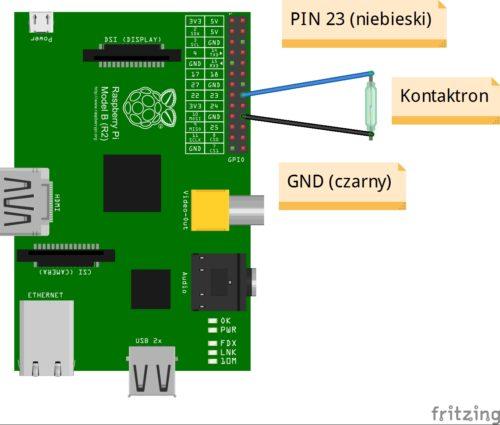 Schemat podłączenia kontaktronu do Raspberry Pi