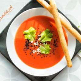 Zupa krem z fioletowych ziemniaków i buraka